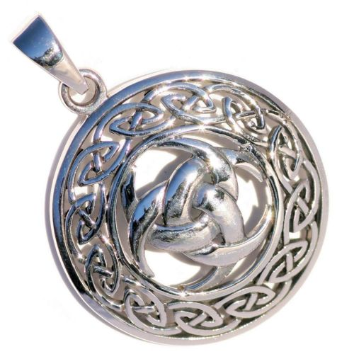 Triple Crescent Moon Celtic Knot Silver Pendant (P087)